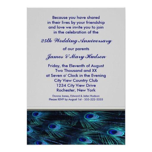 Peacock 25th Wedding Anniversary Party Invitation
