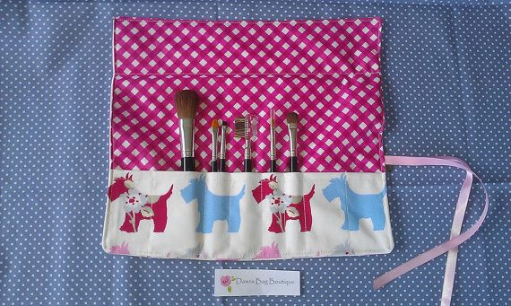 Make up brush roll with flap makeup brush roll by DawnsBagBoutique, £15.00 #Make Up brush roll, #make up roll, #Scottie dogs, #Scotty Dog, #make up brush case, #make up organizer