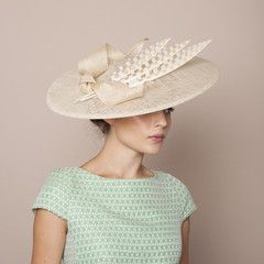 Gina Foster Millinery Ponza Large Hat with Feather & Bow Trim.