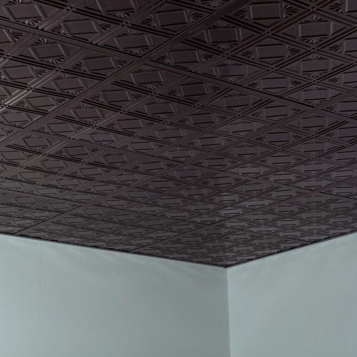 Fasade Traditional Style #4 Smoked Pewter 2-foot Square Lay-in Ceiling Tile