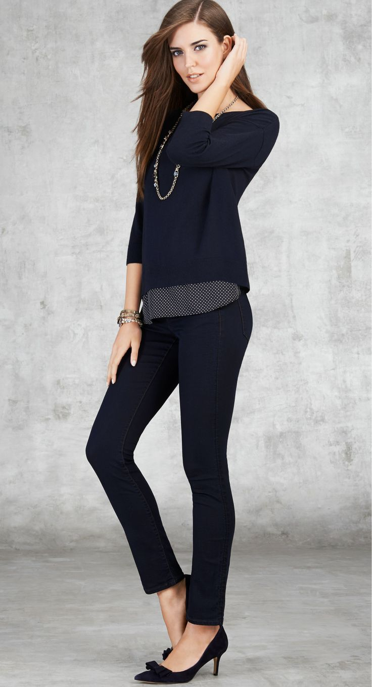 navy or black, blouse under sweater, dark jeans or pants, work, fall, winter, spring