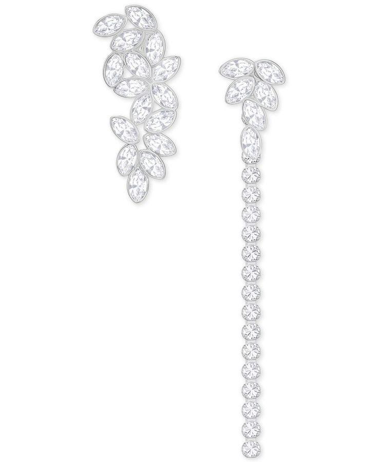 Swarovski Garden Silver-Tone Asymmetrical Convertible Crystal Earrings