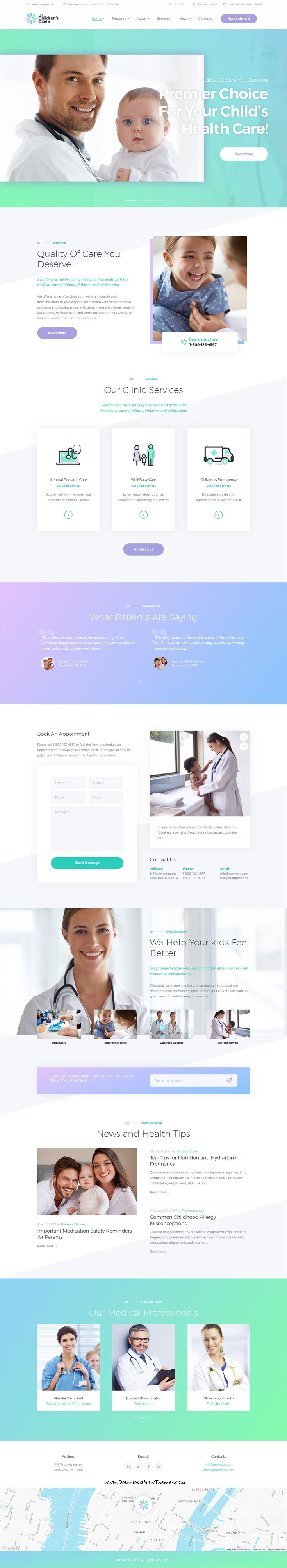Professional clean and modern design responsive #WordPress theme for children's clinics and hospitals website download now #webdesign #pediatrician