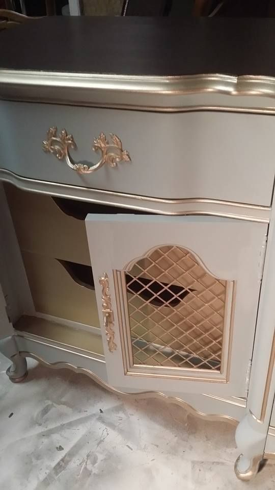 Modern Masters Warm Silver Metallic Paint on the inside drawers and furniture accents | Vintage Charm Restored