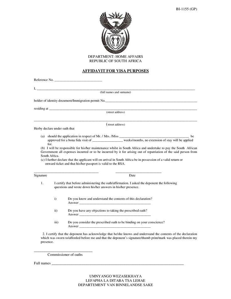Image Result For Affidavit Form For Invitation To Sou  Jp Docs