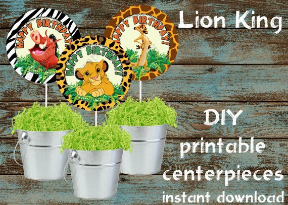 The lion king centerpieces, Lion King printable centerpieces, Lion King party supplies, Lion King birthday, Lion King Favors