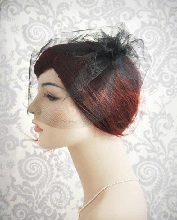 Black Birdcage Veil - Black blusher veil  http://www.etsy.com/shop/januaryrosebridal