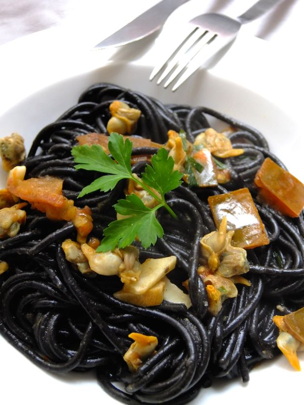 Squid ink pasta with cockles recipe
