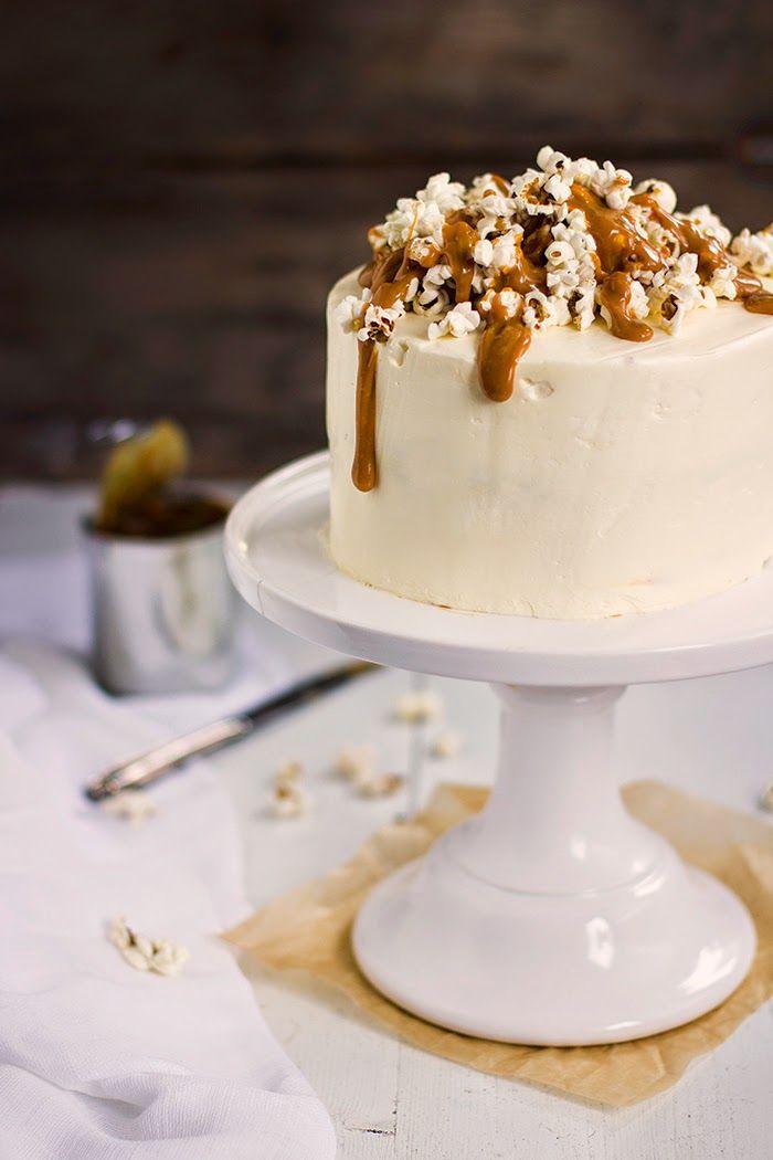 salted caramel popcorn cake with mascarpone frosting