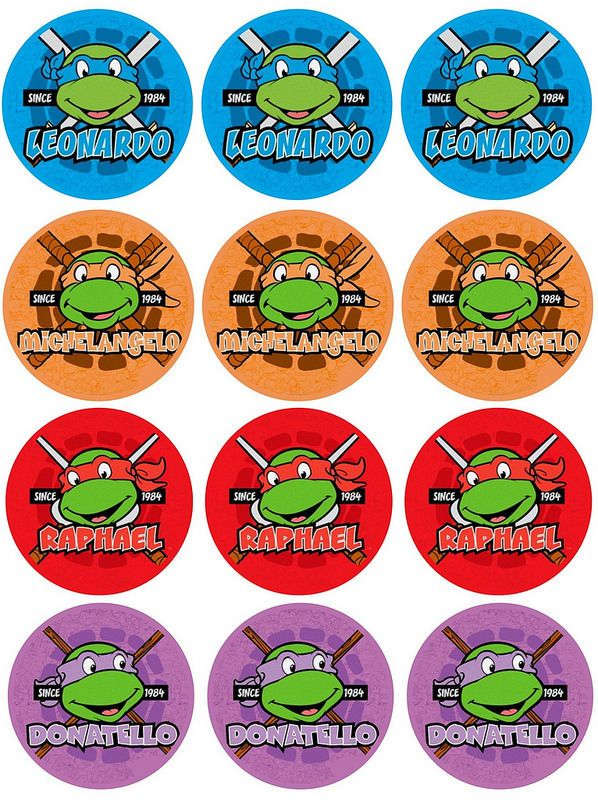 12 X Wafer Cupcake Toppers TMNT 80s Vintage Bright Easy AND Edible | eBay