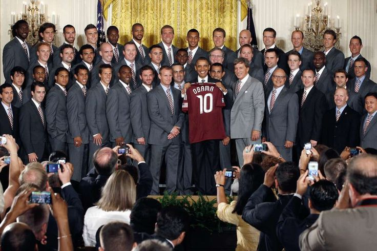 President Barack Obama and his soccer connection:     President Obama poses with the 2010 MLS Cup champion Colorado Rapids in the East Room of the White House.