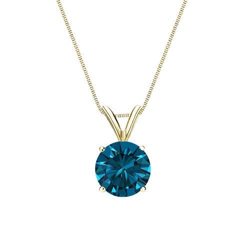 Diamant Anhänger Solitär 0.25 Karat blauer Diamant 14K Gelbgold für nur 699 Euro #diamantanhaenger #weissgold #gelbgold #rosegold #blauer_diamant #schmuck #kette #collier #juwelier #abt #dortmund #karat