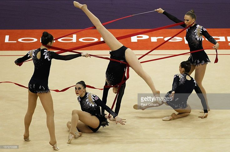 The Great Britain team in action in the Group All-Around during the FIG Rhythmic Gymnastics Olympic Qualification round at North Greenwich Arena on January 18, 2012 in London, England.