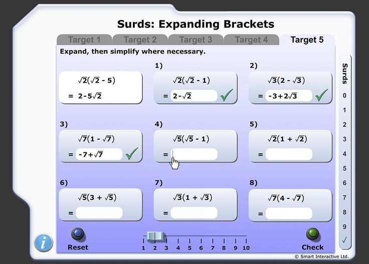 Expand and simplify an expression in brackets of the form √a(n ± √a)