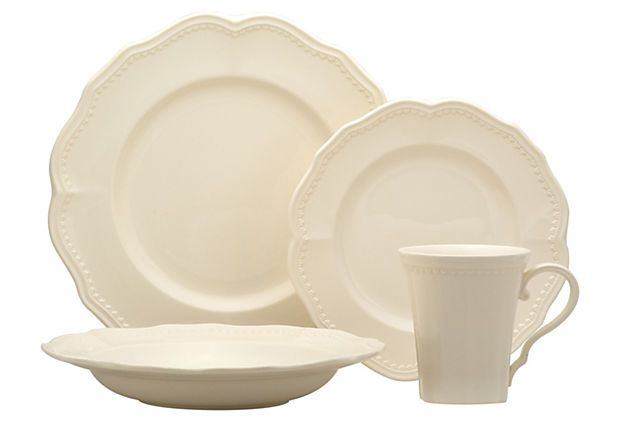 16-Pc Classic Dinnerware Set, White on OneKingsLane.com