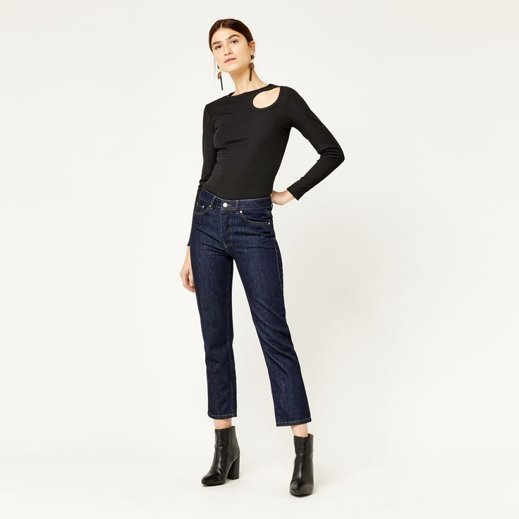 Warehouse, RIB CUT OUT LONG SLEEVE TOP Black 2