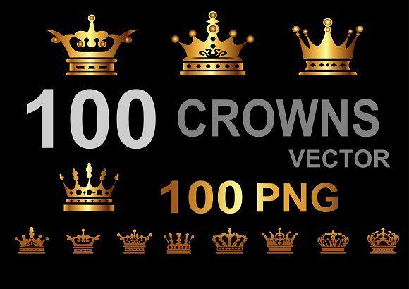 100 crown icons, logo https://ru.fotolia.com/p/201081749, http://ru.depositphotos.com/portfolio-1265408, https://creativemarket.com/kio