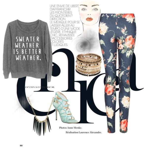 Sweater Weather Chic In Floral Leggings & Mint Pumps