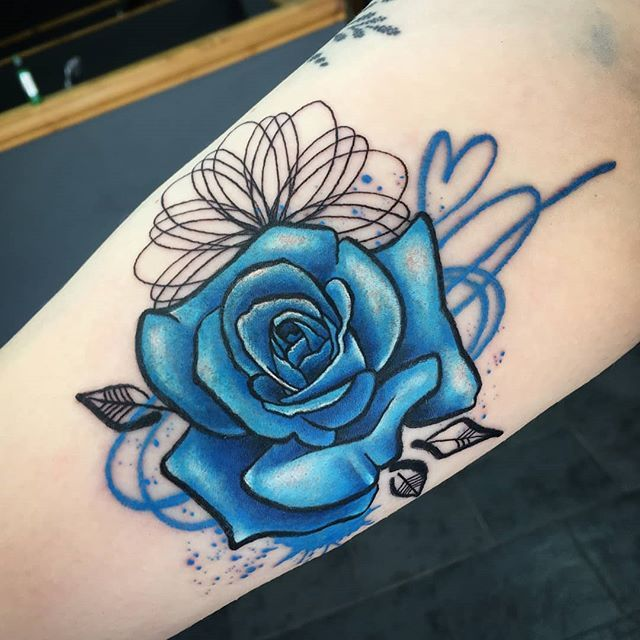 Blue Trash Graffiti Rose By Rebekkarekkless At Divine Art Tattoo