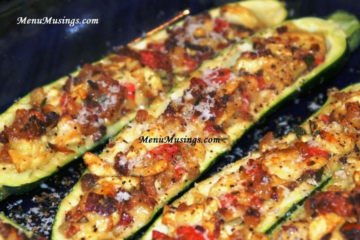 Stuffed Zucchini - I used 1 TBSP mayo instead of sour cream and cooked them on the George Foreman grill for 15-20 minutes at medium. They were perfect and yummy!