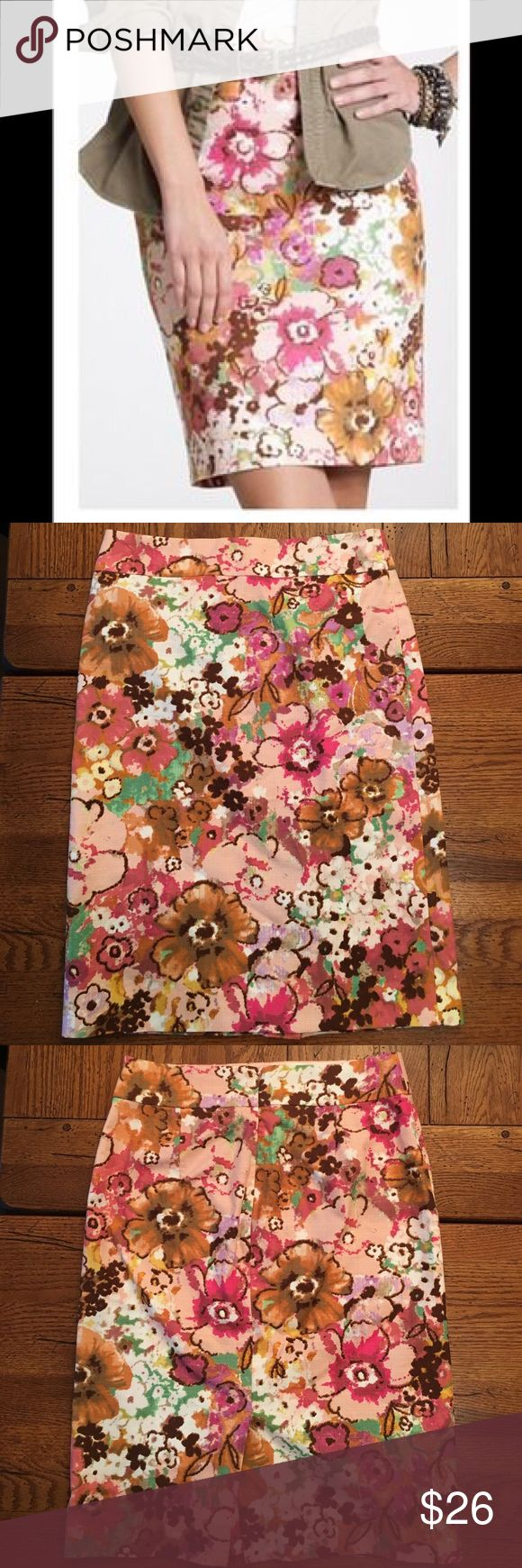 J. Crew Watercolor Floral Pastiche Pencil Skirt Gorgeous Floral Print.   You will look like a work of art!  Could easily be dressed up or down.  •Size 2 • 98% cotton, 2% spandex • Very good used condition.  Only flaw is a small pull near the zipper that is not noticeable when worn.  Picture of flaw is in photo above. • Offers are welcome  J. Crew Skirts Pencil