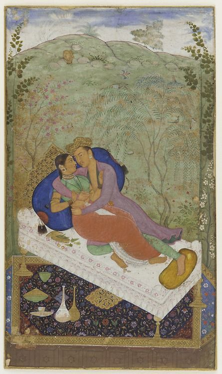 Lovers, attributed to Manohar, ca. 1597, Mughal