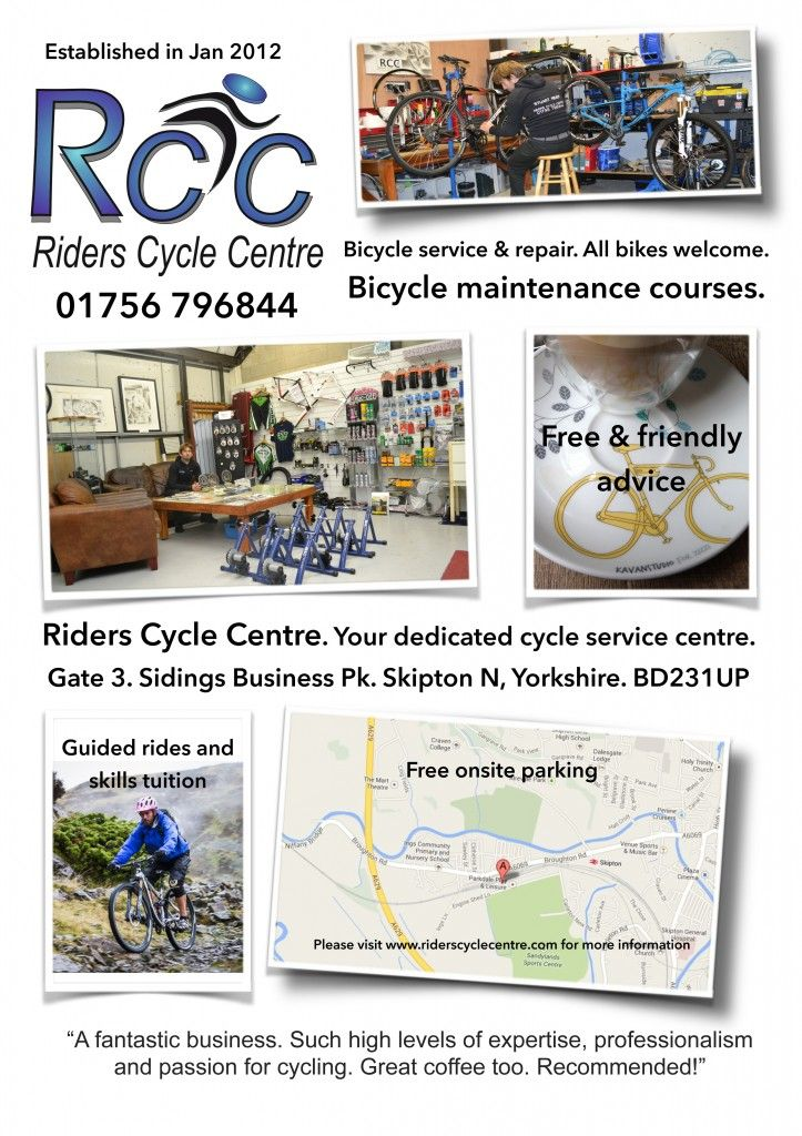 RidersCycleCentre leaflet. A5 glossy news.
