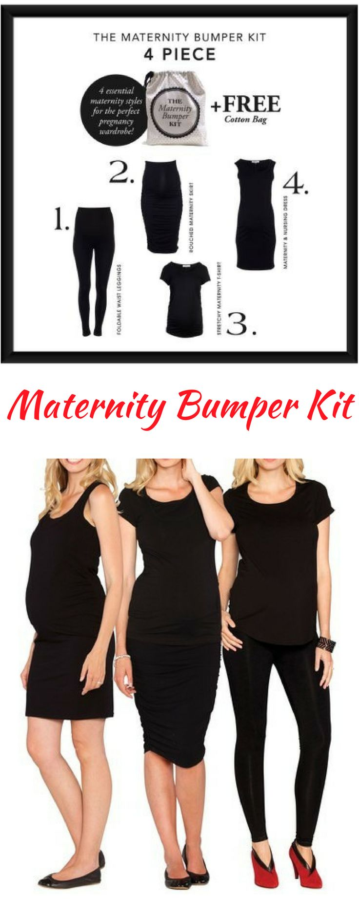 Create the ultimate maternity wardrobe with this set of four must-have pieces that easily mix and match to create multiple outfits. | Maternity Clothes | Maternity Fashion | Maternity Dress | Maternity Skirt | Maternity  Leggings | Maternity Shirt | #ad
