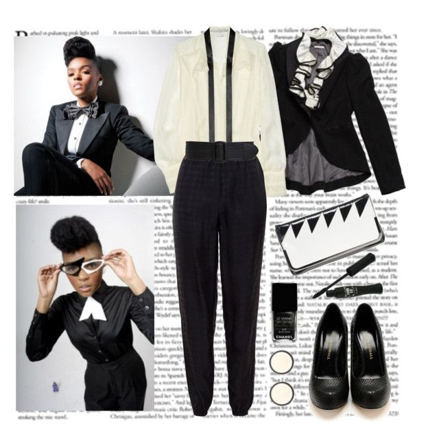Janelle Monae by helena99 on Polyvore featuring polyvore fashion style Oscar de la Renta American Retro French Connection Oasis Calvin Klein Anna Sui Chanel clothing janelle monae pumps oscar de la renta trousers french connection clutches