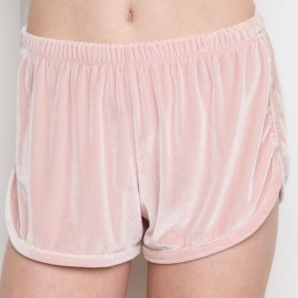 Brandy Melville pink velvet shorts Super soft baby pink velvet shorts. No trades, please Brandy Melville Shorts