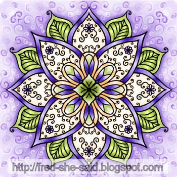 Purple mandala - by Tracey Lynn 'Fred' Miller, via Fred, She Said blog (August 2007)