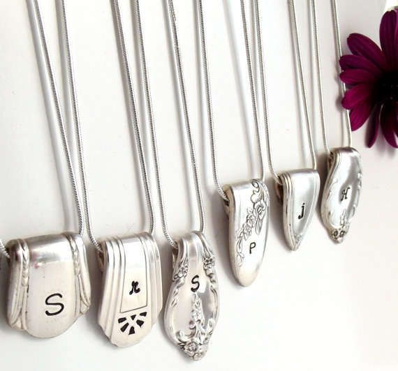 silver spoons - Etsy shop owner SpoonerZ came up with a creative way to recycle unused, old silver spoons by re-bending the silver spoon handles and turning them i...