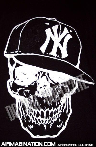 yankees skull | skull airbrush style screen printed shirt