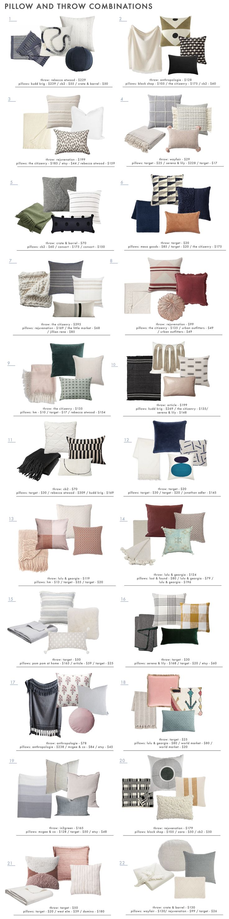 mix and match throw pillows and blankets