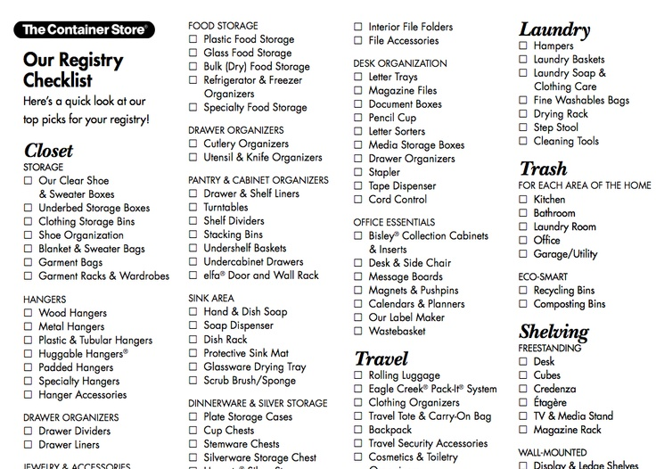 Wedding registry checklist from the Container Store. (With