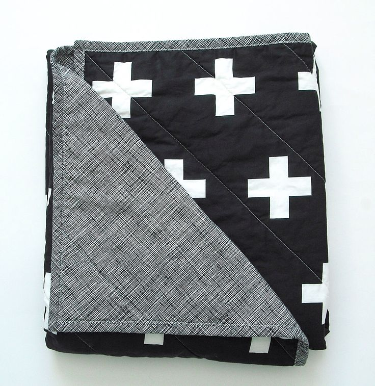 Black and white swiss cross quilted blanket, Unisex, Scandinavian, home and living, bedding, whole cloth quilt, baby, toddler, twin size by NotSewStrange on Etsy https://www.etsy.com/listing/228773060/black-and-white-swiss-cross-quilted