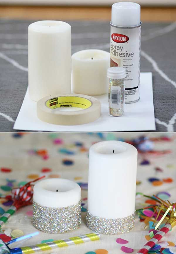New year eve's glitter candles. 31 Sparkling DIY Decoration Ideas To Jazz Up Your Life
