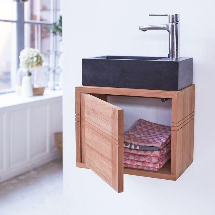 Simple meuble lave main suspendu en teck basic with petit - Petit meuble de coin ...