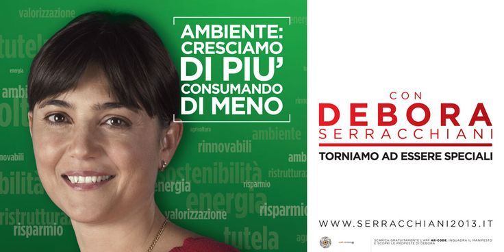 Augmented Reality and political campaigns. Point AR-Code at this image to access a video of the candidate Debora Serracchiani explaining her agenda for the elections. Distributed on outdoor billboards during the campaign for the 2013 Italian elections.