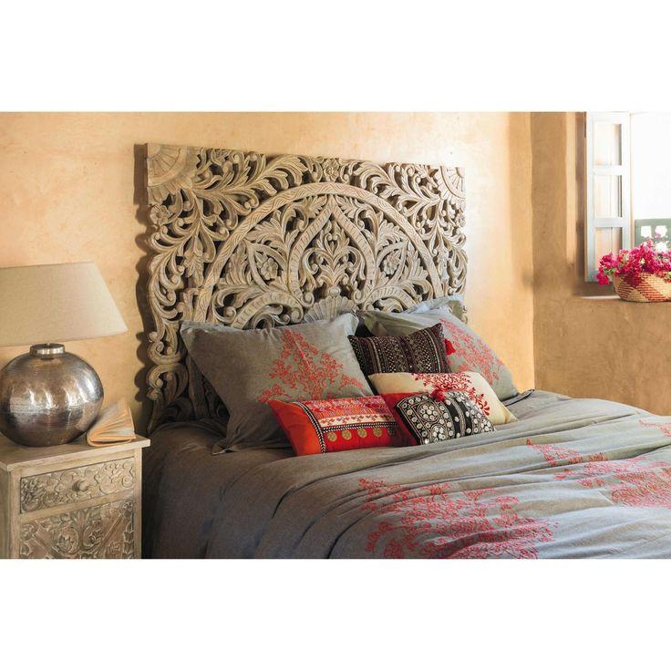 T te de lit 160 sculpt e en manguier massif lits - Tete de lit maison du monde ...