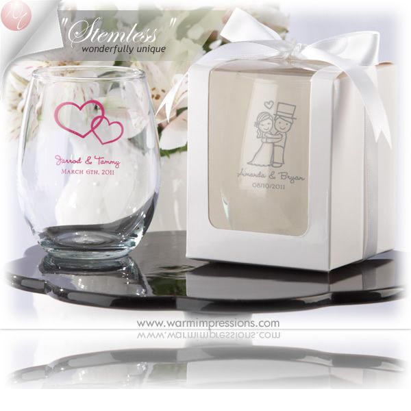 Personalized Stemless Wine Glass Favors Gifts - 71% OFF - 13045BL - Cheap Wedding Favors - Cheap Bridal Shower Favors - Cheap Party Favors - http://www.warmimpressions.com/WEDDING_FAVORS/Personalized-Stemless-Wine-Glass-Favors-kate-aspen-30009NA.html  large 2