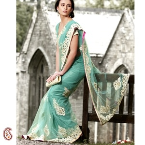 Aqua Green Full Net Resham Work Sari -- Trendy Aqua Green full Net Sari with silver zari , Resham thread patchwork , Patti border with sequins and kundans and intricate designer motifs all over paired with matching blouse only add to the glamour of this sari. Great option for Cocktail Party, Wedding or reception. $212
