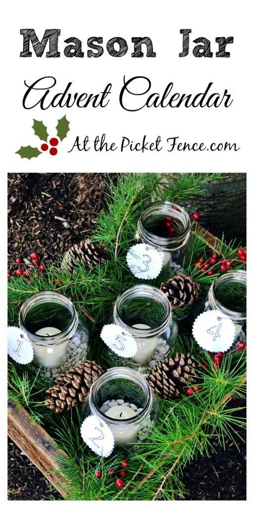 Simple mason jar advent calendar from atthepicketfence.com