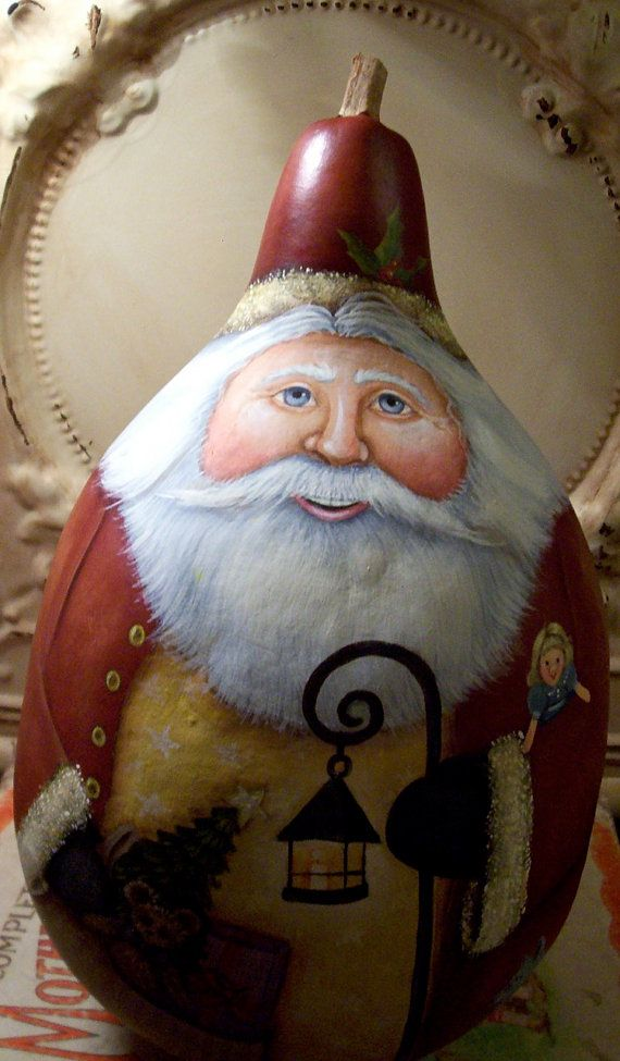 Santa Folk Art Christmas Original One of a kind Hand Painted Gourd
