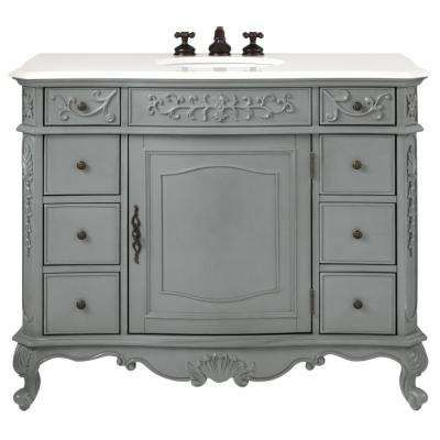 Image Of W Vanity in Antique Grey with Marble Vanity Top in White with