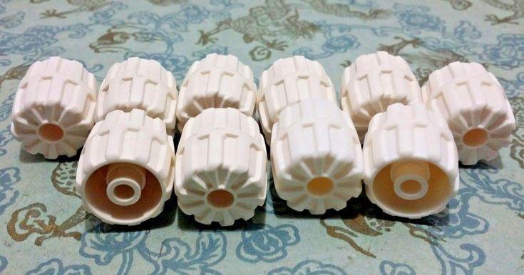 Lego White Hard Plastic Wheels Model 6118 Bulk Building Block Toy Replacements #LEGO