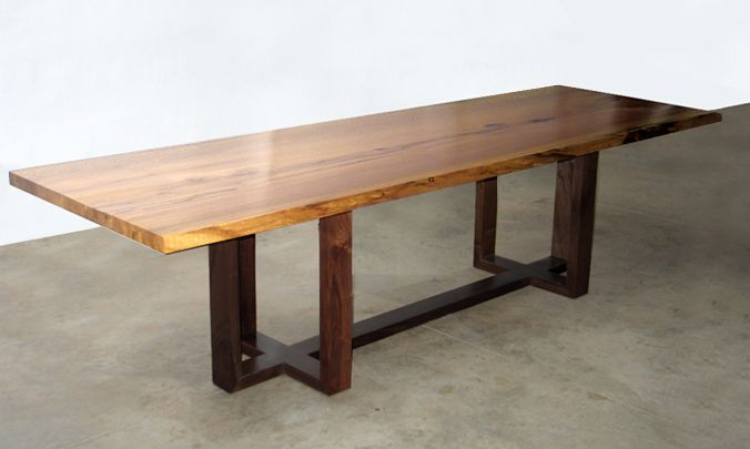 SYCAMORE DINING TABLE WITH OPEN BLACK WALNUT BASE