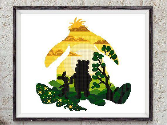 Friends cute bear modern cross stitch pattern easy silhouette counted cross stitch chart, nursery, baby, fan gift, DIY, pdf