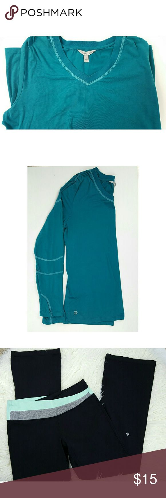 Athleta Women's Long Sleeve Green Top - Great Aqua Green long sleeve top with from Athleta. Lightweight soft stretchy fabric. Also, check out post for Lululemon Yoga Pants.  Great items to bundle!!!! Athleta Tops