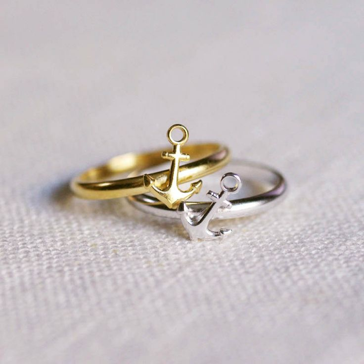 ahoy . nautical anchor ring . stacking ring by trystjewellery, $20.00